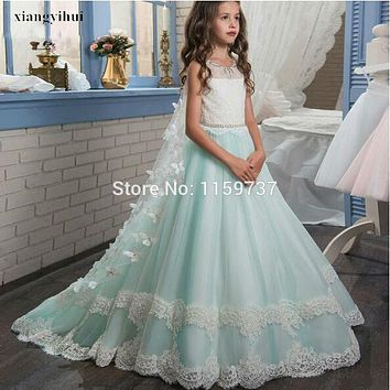 Beautiful Design Floor Length Flowers Girls Lace Dress A-line Gown Birthday Party Teenagers Dress Pageant