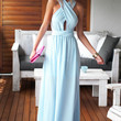 Blue Flare Backless Maxi Dress