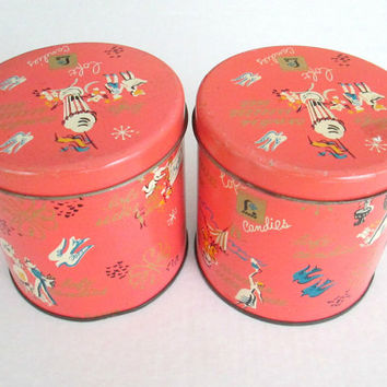 Loft's Candies Tins Set of 2 Coral Retro Bird Print Metal Canisters