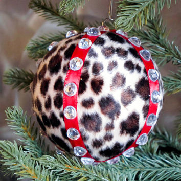 Christmas Ornament Leopard Print Fur Animal Ball Cheetah Fur Faux Silver Red Gift Box Tree Decoration Holiday Decor Boxed Wrap Present Vamp
