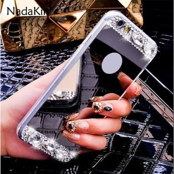 Luxury Crystal Bling Diamond Rhinestone Plated Soft Mirror Phone Case Cover for Apple iPhone 5 5S SE 5G 6 6S 6G 7 7G 8 8G Plus X