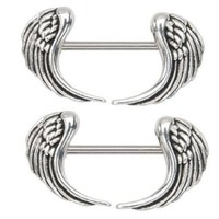 """Nipple Ring Angel Wings Bar Body Jewelry Sold As Pair 14g 1/2"""""""