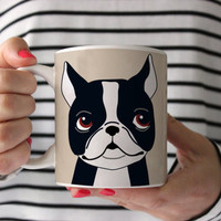 Boston Terrier Coffee Mug - Boston Terrer Ceramic Mug  - Boston Mug - Dog Mug - Gift for Coffee Lovers - Boston Terrier Lover Gift - BT gift