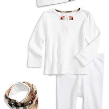 Infant Girl's Burberry Tee, Leggings, Bib & Hat
