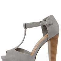 Care for a Lift? Grey T-Strap Peep Toe Platform Heels