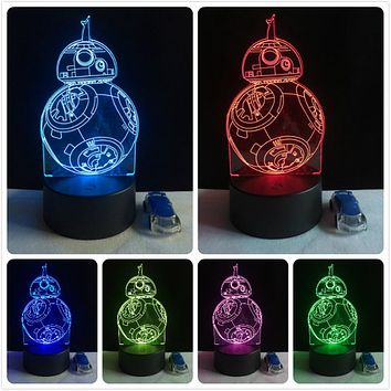 2017 Cartoon Movie BB8 Star Wars Robot Figures 3D LED Lamp 7 Colors Changing Lighting Ball Decor Kid Toys Night Light RGB Bulb