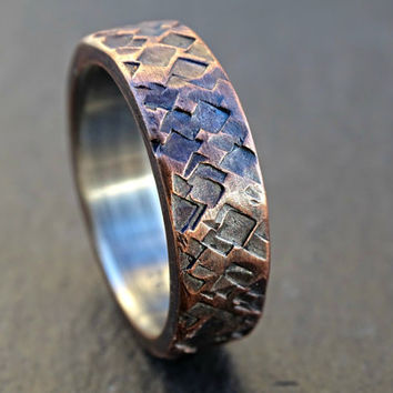 rustic copper ring wedding, mens promise ring copper, mens wedding band copper silver, square hammered ring, anniversary gift for men