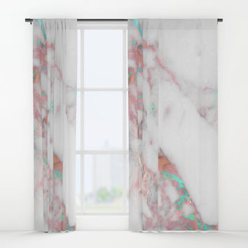 Splash of Color Rock Turquoise Aqua Bronze Window Curtains by Sheila Wenzel