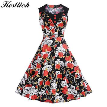 Skull Head And Rose Print Summer Dress Women Cotton Sleeveless Vintage Dress 50s Button Swing Rockabilly Dresses