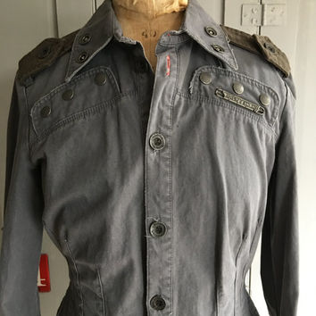 Vintage Diesel ladies grey cotton shirt size M UK 12