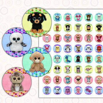 "Beanie Boo's 1 inch digital images collage sheet 8.5x11"" and 4x6"""
