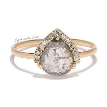 A 14K Yellow Gold Natural 1CT Pear Cut Light Grey Diamond Engagement Ring