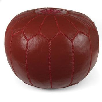 Garnet Moroccan Pouf Round Genuine Leather