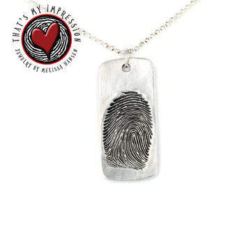 Actual Fingerprint Impression Engraved Handwriting Memorial Jewelry, Military Dog Tag, Name Jewelry, Signature Jewelry