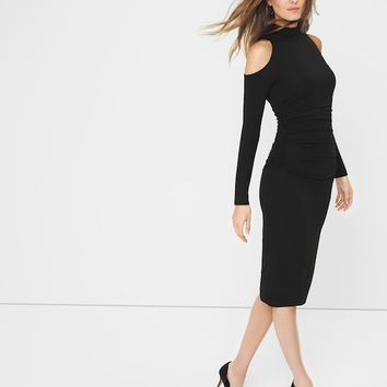 White House Black Market Cold-Shoulder Black Sheath Dress