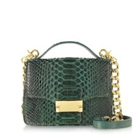 Ghibli Designer Handbags Emerald Green Python Leather Shoulder Bag
