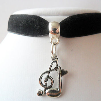 """Velvet choker Black ribbon and music note charm with a width of 1/2"""""""