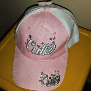 90s Pink Embroidered Baseball Cap Cutie