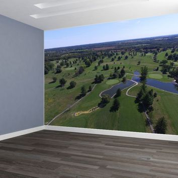 Golf Course Aerial Custom Designed Wallpaper Peel and Stick