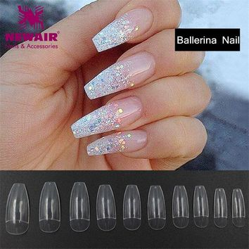 New Long Ballerina Half Nail Tips 500pcs Long Clear Coffin False Nails ABS Artificial DIY Nail Art