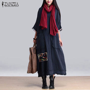 ZANZEA Women Vintage Elegant Dress 2016 Spring Splice O Neck 3 4 Sleeve Pockets Casual Loose Solid Maxi Long Oversized Vestidos