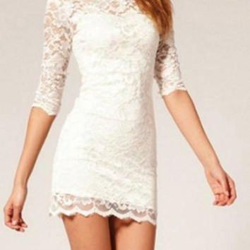 DCCKJ3V Sexy Lace Tight Three Quarter Sleeve Package Hip Mini Dress
