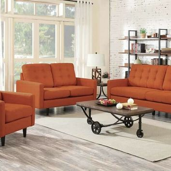 Coaster 505371-72 2 pc kesson collection orange linen like fabric upholstered tufted back sofa and love seat set