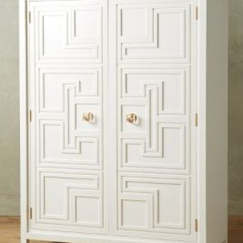 Lacquered Regency Armoire by Anthropologie in White Size: One Size Furniture