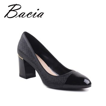 Bacia Genuine Leather shoes Woman 6.9cm round toe Square Heel Black Pink Handmade Big Size 35-41 High Quality Fashion Pumps A008