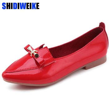 2018 Fashion Women Shoes Woman Flats high quality Patent Leather slip-on shoes pointed toe Rubber Women Flat Shoes Ballet N201
