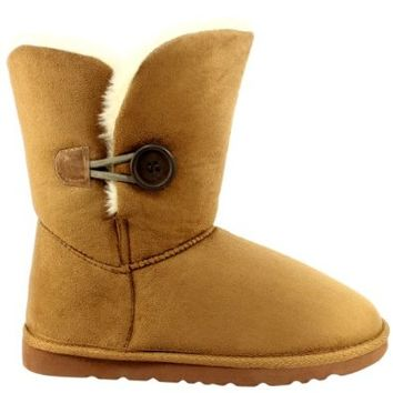Womens Single Button Short Classic Fur Lined Winter Rain Snow Boots - Tan - 8 - 39 - AEA0081