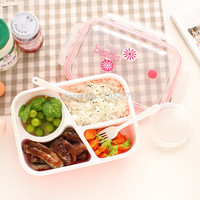 Free Shipping Kids Lunch Box Food Grade Material Microwave Heating Mess Tin Three Grids With a Soup Bowl Sealed Lunch Box