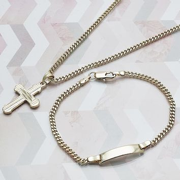 Gold Layered Women Cross Necklace and Bracelet, by Folks Jewelry