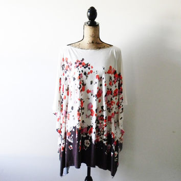 Modern Poncho with Floral Border Print/ Full Coverage Nursing Cover/ Nursing Shawl/ Maternity Top/ Floral Tunic/ Caftan style Poncho