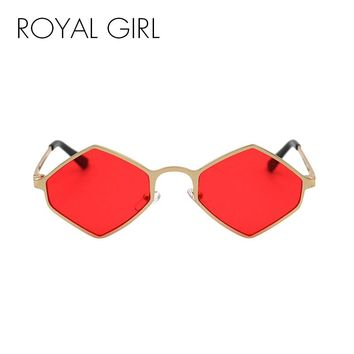 ROYAL GIRL Rhombus Metal Eyeglasses Frame for Women 2018 Summer Vintage Steampunk Square Red Yellow Sun Glasses oculos ss928