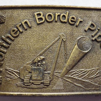 1970s Northern Border Pipeline Brass Belt Buckle Signed RJ Vintage