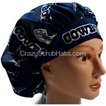 Women's Bouffant, Pixie, or Ponytail Surgical Scrub Hat Cap in Dallas Cowboys Navy