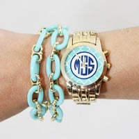 Monogram Women's Watch with Trellis Design