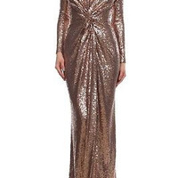 Runway Sexy Sequin Sequined maxi Dress long Bridesmaid Gown in Gold & Bronze