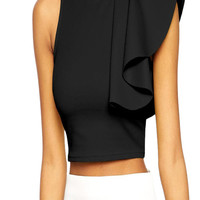 made2envy One Shoulder Ruffle Crop Top
