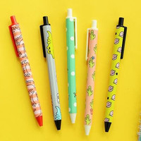 Kawaii Cutie Pens Set Of Six (Cat, Cactus, Crocodile, Planet, Fox, Popsicle)