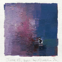 June 15, 2011 - Original Abstract Oil Painting - 9x9 painting (app. 9 cm x 9 cm) with 8 x 10 inch mat