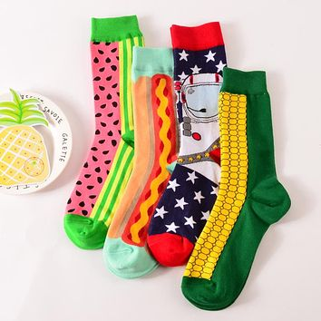 autumn winter fashion creative watermelon corn series long cotton socks for men high socks male novelty sock 4pairs/lot