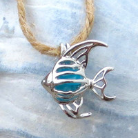 Tropical Blue Angel Fish Pendant Necklace Silver