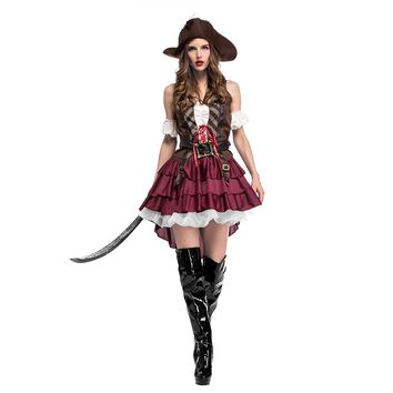 Cool 2018 New Sexy Women Pirate Costume Halloween Fancy Party Dress Carnival Perfor Mance High Quality Adult Pirate Cosplay CostumesAT_93_12