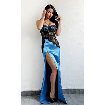 Bad For You Blue Satin Lace Sleeveless Spaghetti Strap Sweetheart High Slit Maxi Dress