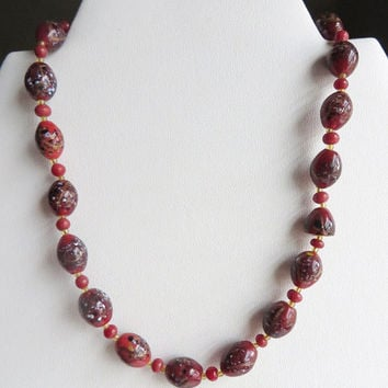 "ON SALE Vintage Murano Glass Bead Necklace - Deep Red-Wine Wedding Cake, Made in Italy - 14"" Length, Christmas Gift"