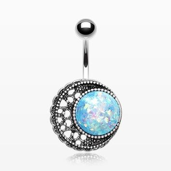 Vintage Boho Opal Filigree Moon Sparkle Belly Button Ring