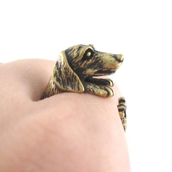 3D Realistic Dachshund Puppy Sausage Dog Shaped Animal Wrap Ring in Brass | US Sizes 5 to 8