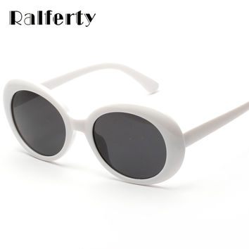 Ralferty Vintage Oval Sunglasses Women Men Classic Eyewear Accessories UV400 Sun Glasses For Women Shades White Oculos X1304